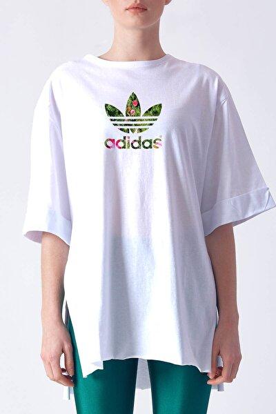 Kadın Yandan Yırtmaçlı Duble Kol Önü Baskılı T-shirt Kyt1989