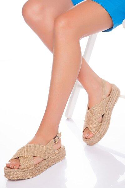 Kadın Bej Hasır Sandalet