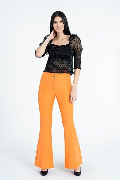 Kadın Oranj Metal Fermuarlı İspanyol Paça Pantolon Y3679