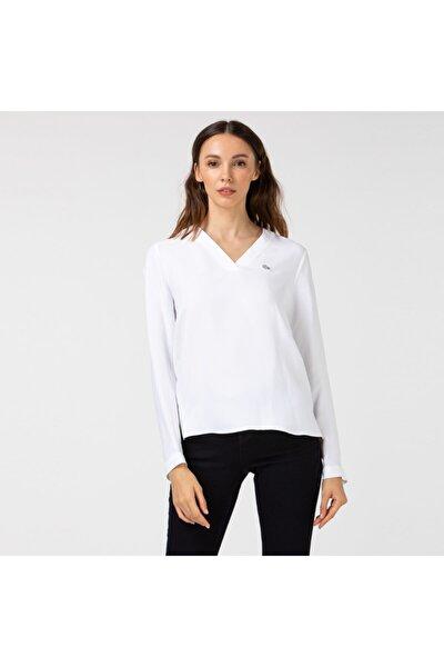 Kadın V Yaka Uzun Kollu Beyaz Bluz