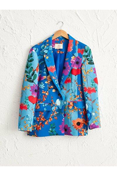 Kadın Mavi Baskili  Ceket