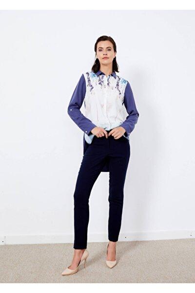 Kadın Lacivert Boru Paça Kumaş Pantolon