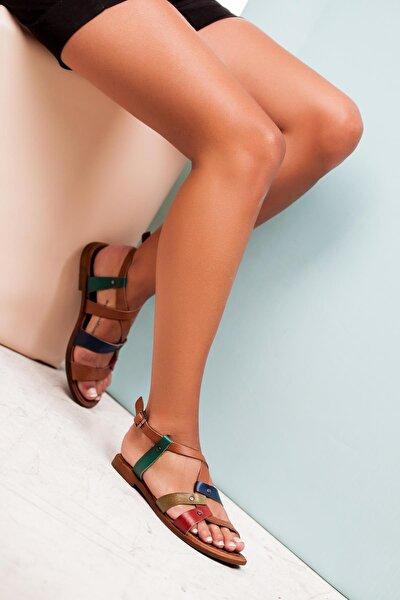 Hakiki Deri Multi-3 Kadın Deri Sandalet Rma-0189
