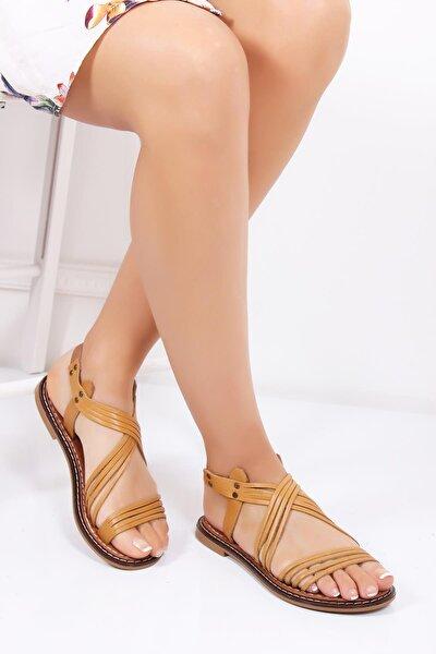 Hakiki Deri Taba Kadın Deri Sandalet Dp28-0863