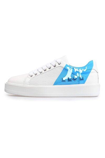 Beyaz Deri Mavi Şeffaf Detaylı Erkek Sneakers