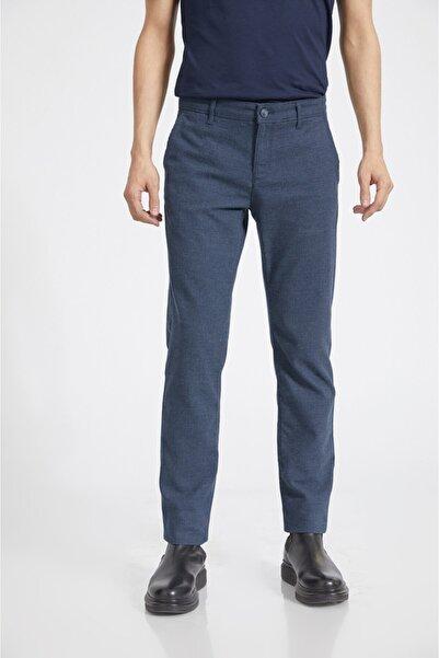 Erkek Lacivert Yandan Cepli Flanel Slim Fit Pantolon A02y3038