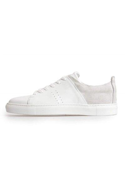 Beyaz Deri Süet Kombin Bağcıklı Erkek Sneakers