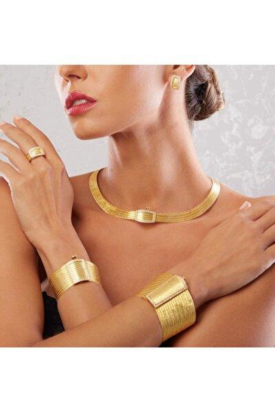 11 Sıra Bileklik 5 Sıra Gerdanlık Kenar Taşlı Hasır Toka Altın Kaplama Gümüş Trabzon Hasırı Set