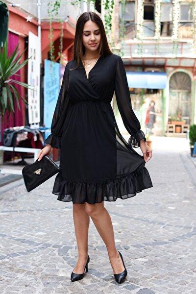 Kadın Siyah Astarlı Kruvaze Şifon Elbise