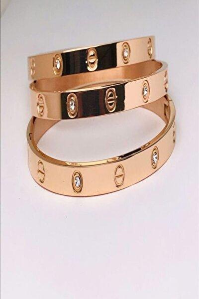 Zirkon Taşlı Ros Rengi Cartier Çelik Bileklik (1 Adet)