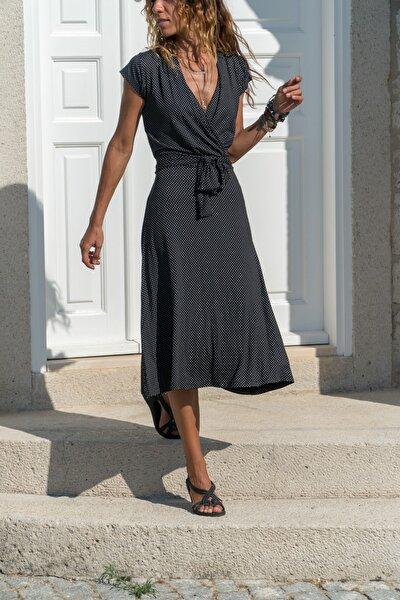 Kadın Siyah Kruvaze Puantiyeli Kiloş Elbise Gk-ld302