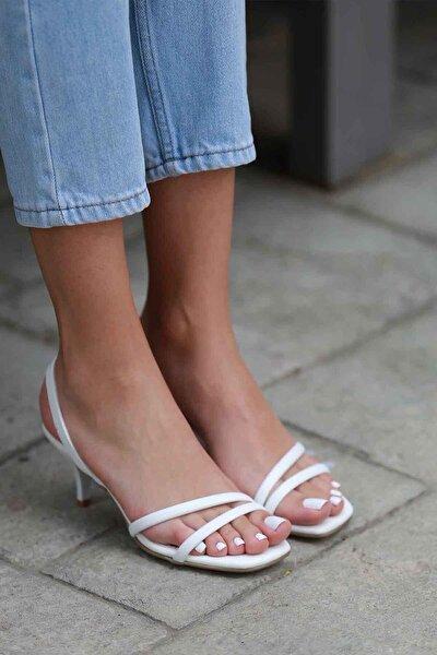Coco Kadın Beyaz Topuklu Sandalet