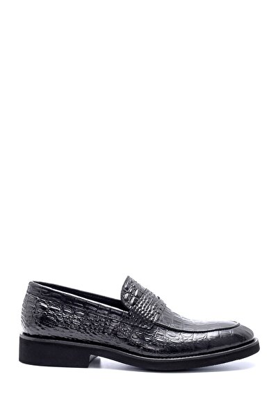 Erkek Deri Kroko Desen Klasik Loafer