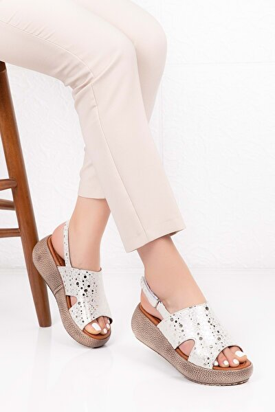 Hakiki Deri Anatomik Taban Sandalet Beyaz Dalmaçyalı 38 Iz.0809