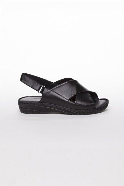 Hakiki Deri Siyah Kadın Deri Sandalet Dp05-0247