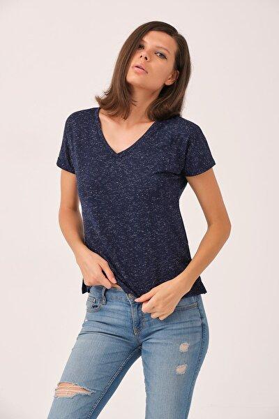 Yanı Yırtmaçlı Tshirt Lacivert
