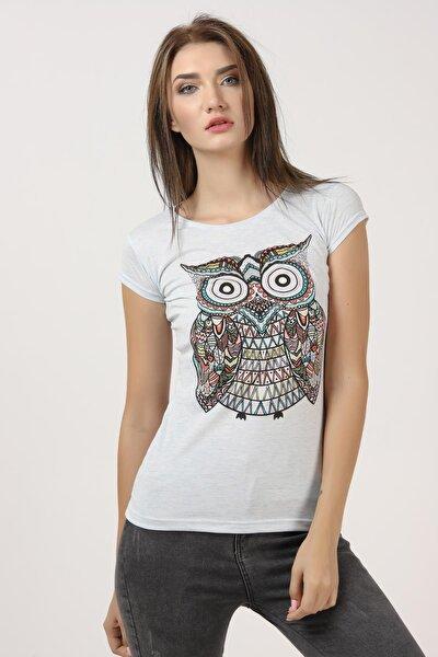 Kadın Açık Mavi Baykuş Baskılı Tişört