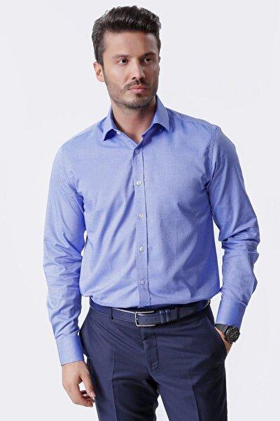 Uzun Kollu Klasik Erkek Gömlek Beyaz Saks