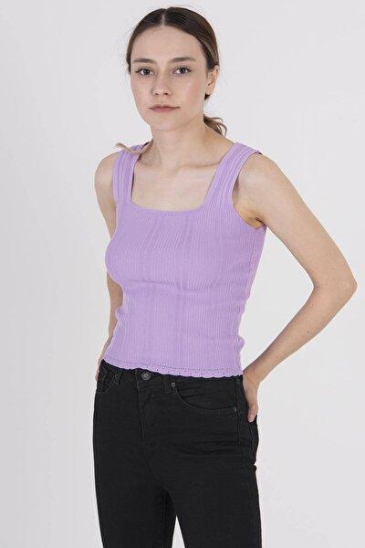 Kadın Lila Kalın Askılı Triko T5585 - E11 ADX-0000022937