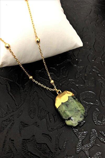 Dr Stone Golden Serpantin- Yılan Taşı 22k Altın Kaplama El Yapımı Kadın Kolye Tkrb11