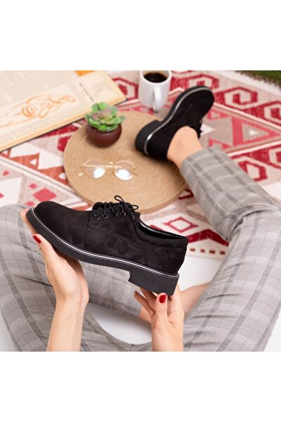 Bayan Oxford Ayakkabı-siyah Süet