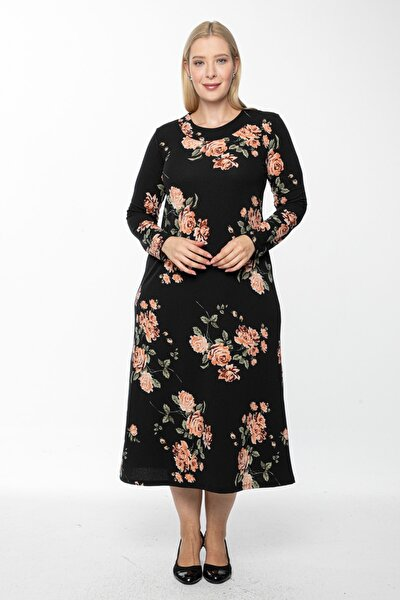 Kadın Siyah Uzun, Büyük Gül Kurusu Baskılı Krep Elbise