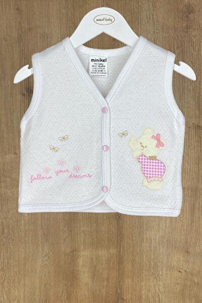Kız Bebek Beyaz-pembe Ayıcıklı Kapitone Bebek Yelek 6-12-18 Ay