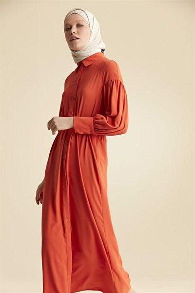 Düşük Kol Gömlek Yaka Elbise - Oranj X4197