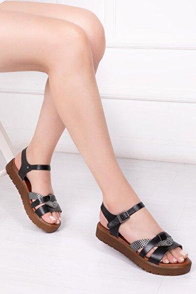 Hakiki Deri Siyah X3 Kadın Deri Sandalet Dp-1014