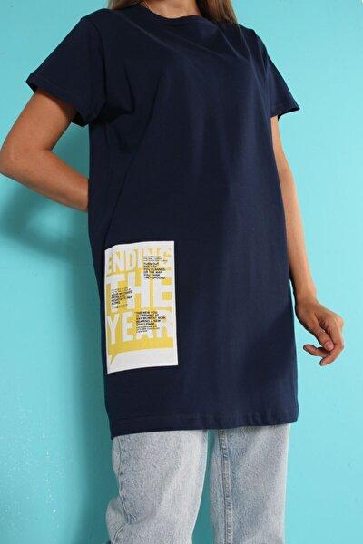 Lacivert Kısa Kol Baskılı T-shirt