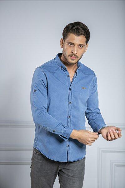 Likralı Slim Fit Açık Mavi Kot Gömlek