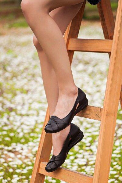 Hakiki Deri Siyah Kadın Deri Babet Trc-4000