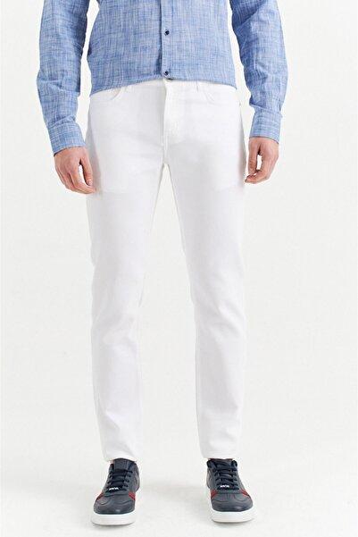 Erkek Beyaz 5 Cepli Armürlü Slim Fit Pantolon A01y3044