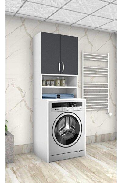 Antrasit 55 Lik Çamaşır Makinesi Dolabı Banyo Dolabı Raflı Kapaklı Dolap