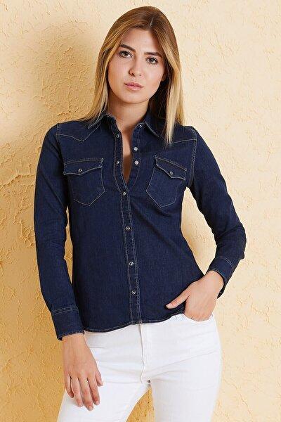 Kadın Slim Fit Gömlek Bg 812-02 Lacivert