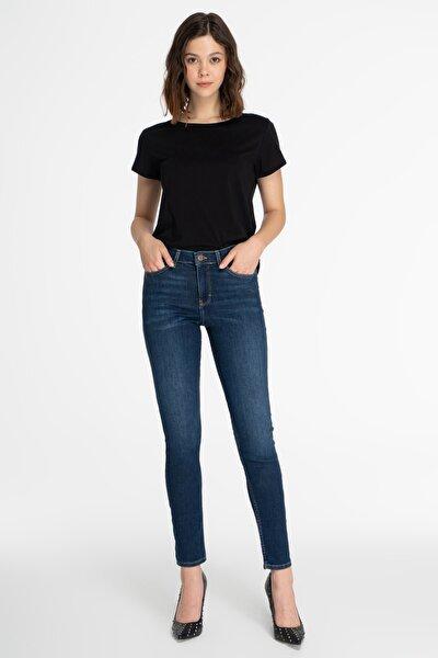 Kadın Koyu Mavi Normal Bel Skinny Fit Jean Pantolon