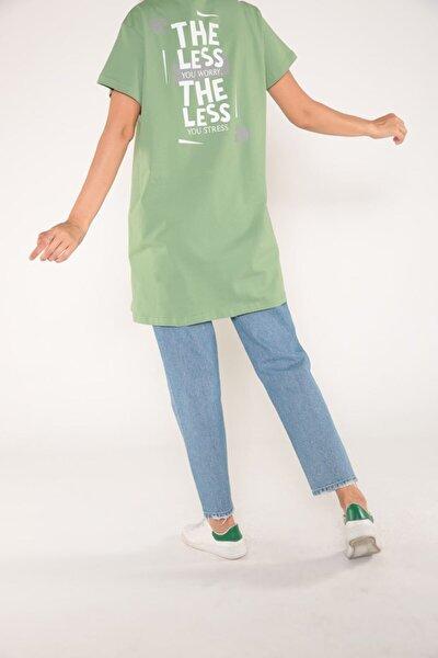 Fıstık Yeşili Arkası Baskılı Kısa Kol T-shirt