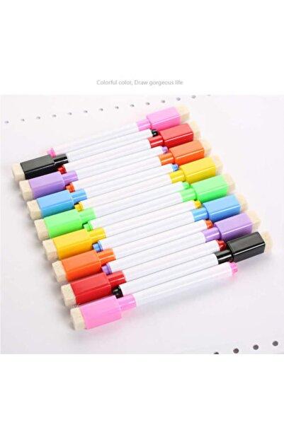 12 Adet Karışık Renkli Mıknatıslı Silgili Akıllı Tahta Kalemi - Silinebilir Beyaz Tahta Kalemi