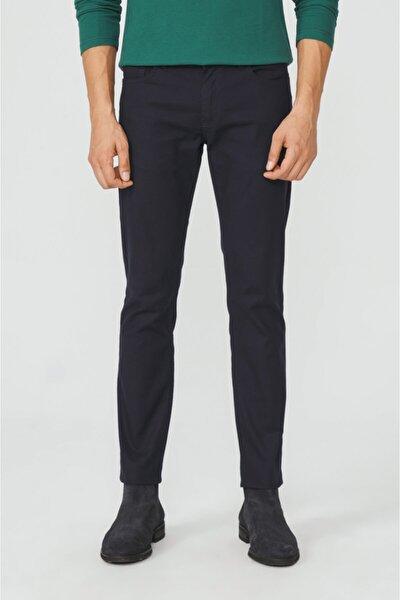 Erkek Lacivert 5 Cepli Armürlü Slim Fit Pantolon A02y3056