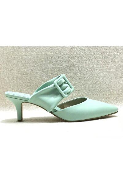 Kadın Su Yeşili Cilt Topuklu Ayakkabı