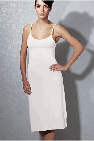 Kadın Beyaz  Modal Askılı Jüpon Kombinezon 11129