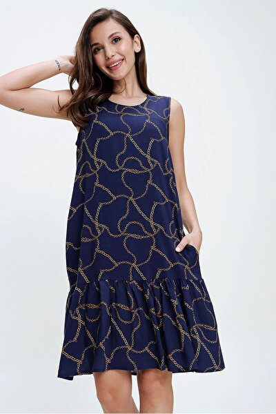 Kadın Lacivert Kolsuz Zincir Desen Fırfırlı Viskon Elbise S-20Y3080099