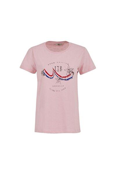 Kadın  Pembe  Baskılı Kısa Kol Bisiklet Yaka T-Shirt 012208038561430000