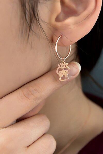 925 Ayar Gümüş Rose Kaplama Prenses Kadın Halka Küpe