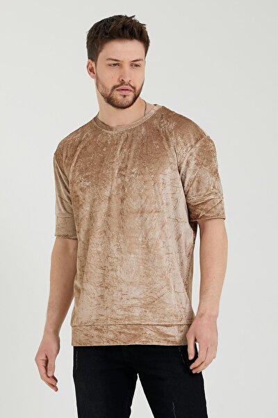 Erkek Bej Oversize Bol Kesim Kadife Triko T-shirt