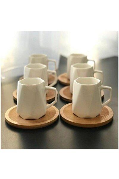 Beyaz Porselen Prizma 6 Kişilik Bambu Tabak Kahve Fincan Seti