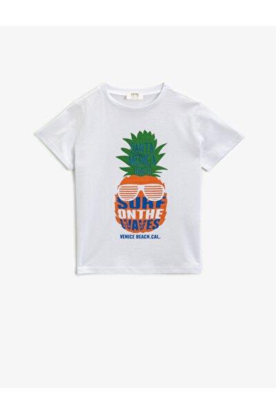 Erkek Çocuk Beyaz Cotton Bisiklet Yaka Kısa Kollu T-Shirt