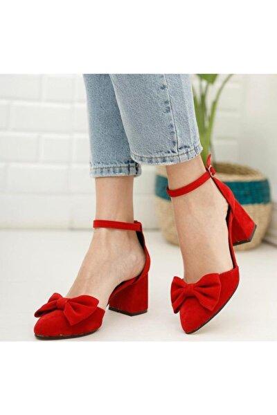 Kadın Kırmızı Süet Topuklu Fiyonklu Ayakkabı