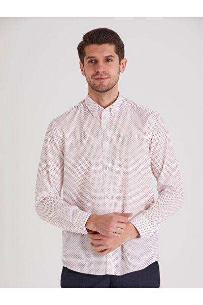 Beyaz Nokta Desenli Erkek Gömlek - Slım Fıt