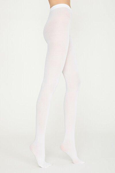 Kadın Beyaz Koton Külotlu Çorap